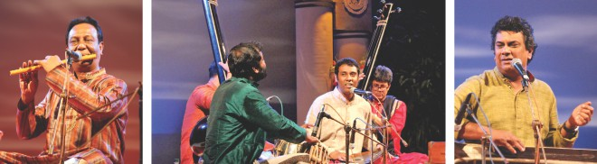 Md. Moniruzzaman, Pandit Tushar Dutta and Khairul Anam Shakil perform at the programme.  PHOTO: RIDWAN ADID RUPON