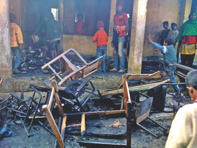 Another gutted school, Khudra Brahmanbaria Govt Primary School.  Photo: Star