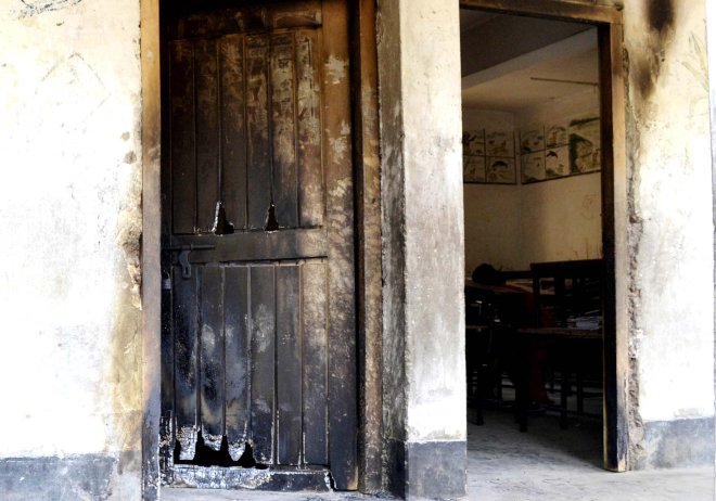 Marks of the blaze at Charghat-Bagha Shyampur Govt Primary School in Rajshahi. All the schools were supposed to be polling centres. Photo: Star