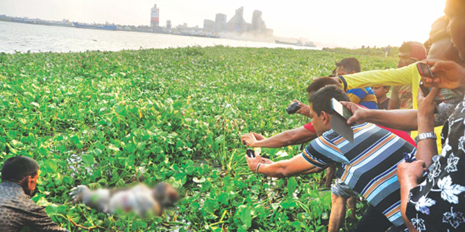 This April 30 file photo shows one of the seven bodies found on the river Shitalakkhya in Narayanganj is being pulled towards the shore. The photo was partly pixelated.