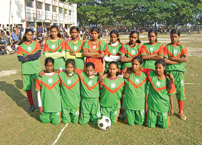The Bachte Shekha women's football team after a match in Magura.