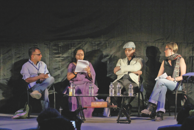 Shaheen Akhtar reads translated excerpts of her work in a session with Arunava Singha, Kaiser Haq and Katie Griffin. Photo: Ridwan Adid Rupon