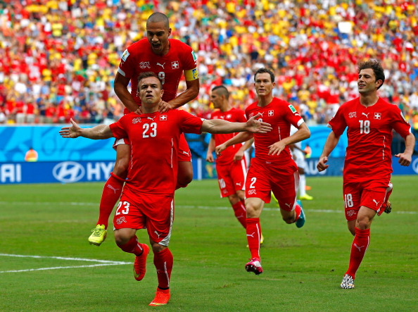 Xherdan Shaqiri of Switzerland celebrates scoring his team's first goal during the 2014 FIFA World Cup Brazil Group E match between Honduras and Switzerland at Arena Amazonia on June 25, 2014 in Manaus, Brazil. Photo: Getty Images