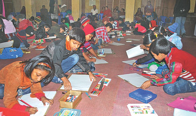 Children at the painting competition.  Photo: STAR