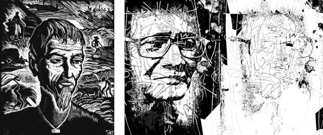 """Face of a Farmer"", Safiuddin Ahmed, wood engraving; ""Journey of a Great Master-28"", Ahmed Nazir, digital print."