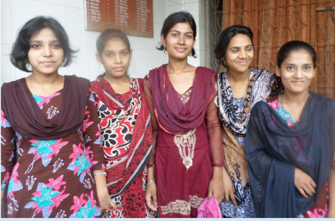 From left, Asha Bashphore, Jhinuk Rani, Priya Rani Biswas, Protima Rani, and Sikha Rani.  PHOTO: STAR