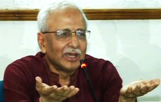 Shujan Secretary Prof Badiul Alam Majumdar addresses a press conference in the capital Friday. Photo: TV grab