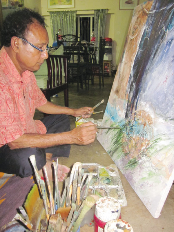 Artist Bimanesh Chandra Biswas is a former student of SM Sultan. Photos: Andrew Eagle