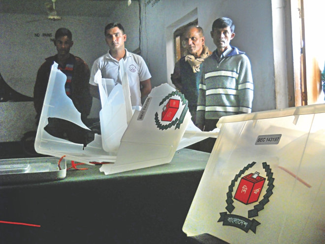 Smashed ballot boxes at Korpur High School polling centre in Sonatala upazila of Bogra yesterday after supporters of a pro-Awami League upazila chairman candidate attacked and vandalised the centre.  Photo: COURTESY