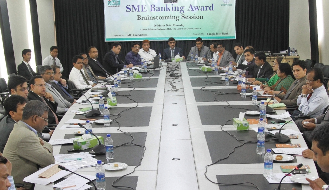 Syed Md Ihsanul Karim, managing director of SME Foundation, attends a brainstorming session ahead of the launch of SME Banking Award to recognise financial institutions' outstanding contribution to the country's small and medium enterprises, at The Daily Star Centre in Dhaka yesterday. Photo: Star