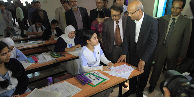 Education Minister Nurul Islam Nahid visits SSC examination hall at Motijheel Government Boys High School in the capital Sunday morning. Photo: Palash Khan