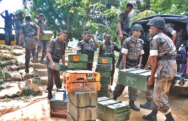 Supplies and ammo being sent to Border Guard Bangladesh troops from their Lemuchhari camp in Naikkhangchhari of Bandarban yesterday as tension was running high at the border with Myanmar following two gun battles in three days.Photo: Anurup Kanti Das