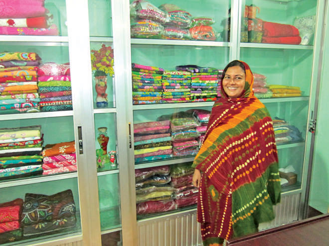 Entrepreneur Ismat Ara Mukta in the showroom of her Shui Shuta Handicrafts. Photo: Andrew Eagle