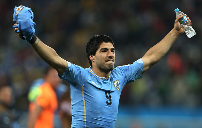 Luis Suarez of Uruguay celebrates during the Group D match of the 2014 World Cup between England and Uruguay at the Arena de Sao Paulo on June 19, 2014 in Sao Paulo, Brazil. Photo: Getty Images
