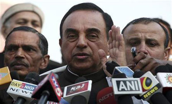 This undated file photo shows BJP leader Subramanian Swamy talking to the media. Photo: Reuters