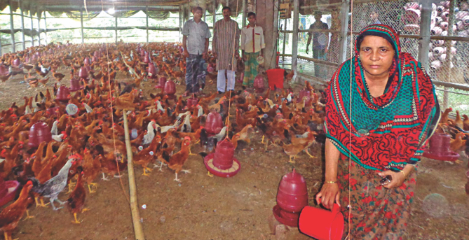 Nazia Sarkar, a successful entrepreneur, at her poultry farm in Shajahanpur upazila of Bogra.   Photo: Mamunur Rashid