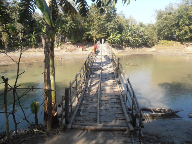 Overused and risky, this bamboo bridge over Phulkumar River in Royganj union of Nageshwari upazila under Kurigram district remains the lone means for walking across the river for thousands of people of several villages on the both sides of the river. PHOTO: STAR