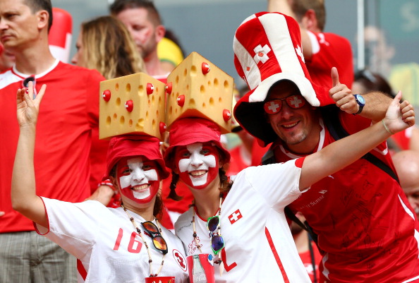 Switzerland fans cheer prior to the 2014 FIFA World Cup Brazil Group E match between Honduras and Switzerland at Arena Amazonia on June 25, 2014 in Manaus, Brazil. Photo: Getty Images