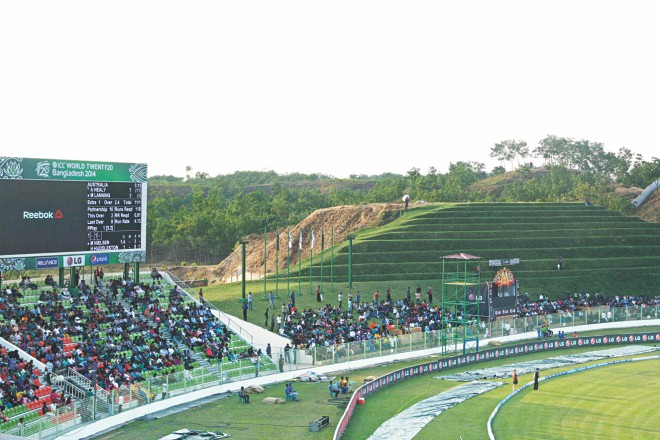 The grassbank is an added attraction to the purpose-built Sylhet Cricket Stadium. PHOTO: STAR