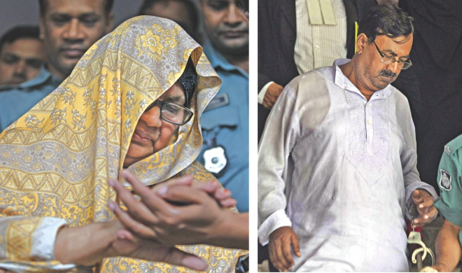 Helena Pasha, left, and Mizanur Rahman being taken to jail after their conviction yesterday. Photo: Rashed Shumon