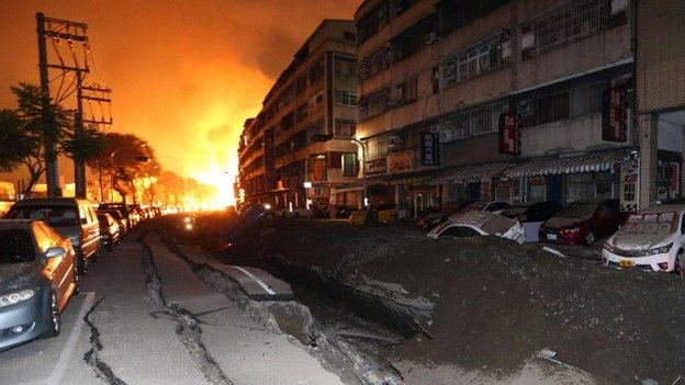Major fires could be seen at the scene of the blasts. Photo: BBC