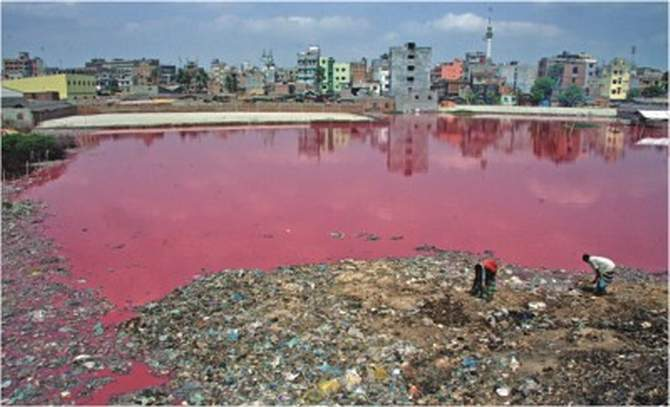 This file photo shows tannery wastes, both solid and liquid, stuck in a low land of Hazaribagh in the capital, exposing locals to severe health hazards.