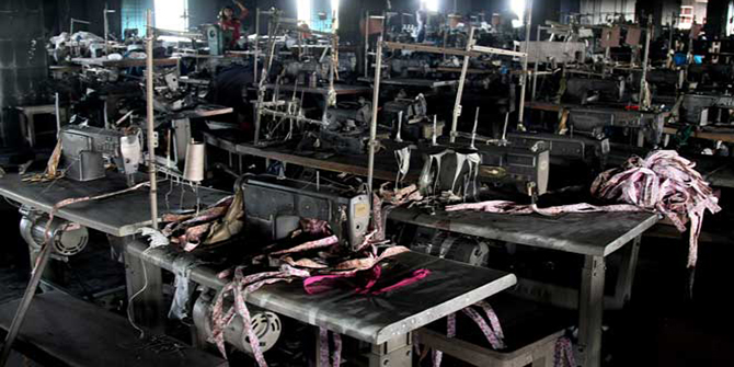This November 29, 2012 file photo shows the charred machines after a devastating fire that killed 112 workers at Tazreen Fashions in Ashulia, on the outskirts of the capital, Dhaka.