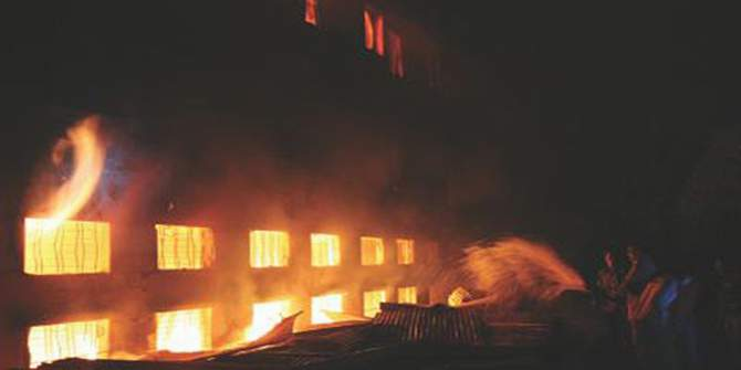This November 24, 2012 file photo shows a scene of Tazreen Fashions Ltd fire. The fire that broke out in Ashulia, on the outskirt area of the capital, took lives of 112 workers.