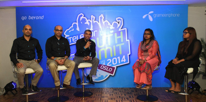 Quazi Mohammad Shahed, chief human resource officer of Grameenphone, attends a press briefing at Sonargaon Hotel in Dhaka yesterday to invite technology project ideas for Telenor Youth Summit to be held in Oslo later this year. P'hoto: GP