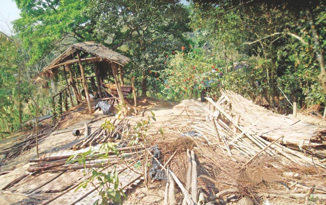 The ravaged home of a Marma family at Sapmara Jiri Marma Para village in Naikkhangchhari of Bandarban. Influential land grabbers have evicted several indigenous families there and vandalised their homes. Photo: Sanjoy Kumar Barua