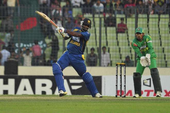 Sri Lanka all-rounder Thisara Perera pulls one on way to scoring an unbeaten knock of 80 runs, which not only revived their teetering innings, but also played a big role in coming out with 13-run win over Bangladesh in the first one-dayer at the Sher-e-Bangla National Stadium in Mirpur yesterday. PHOTO: Firoz Ahmed