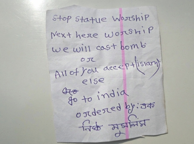 Threatening to hurl a bomb at the temple if Hindus did not stop worshiping idols or move to India.  Photo: Star
