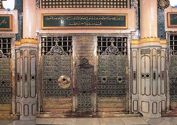 The golden gate of al-Masjid al-Nabawi mosque in Medina, Saudi Arabia, where the remains of the Prophet Mohamed are housed