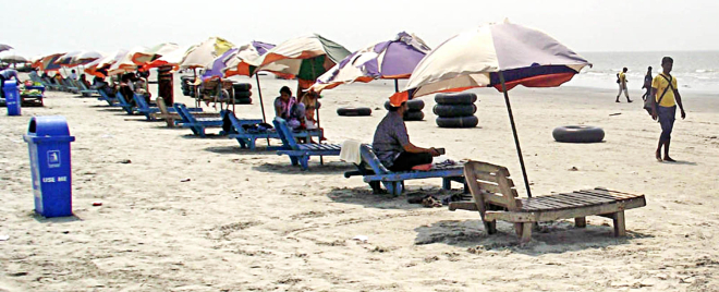 Kuakata, the beachside tourist spot, is prepped up by tourism industry operators ahead of the Eid vacation. Photo: Banglar Chokh