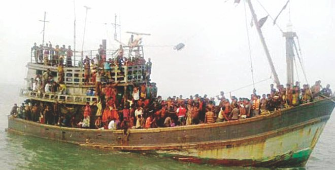 The 120-foot trawler with 330 people on board set off for Malaysia from Moheshkhali coast in Cox's Bazar on Monday night. Photo: Banglar Chokh