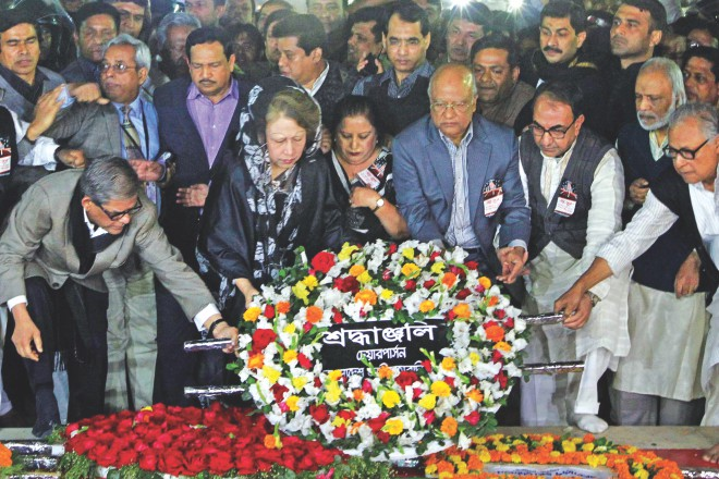 Sometime later, BNP Chairperson Khaleda Zia and the party leaders pay theirs. Photo: Sk Enamul Haq, Anisur Rahman, Palash Khan