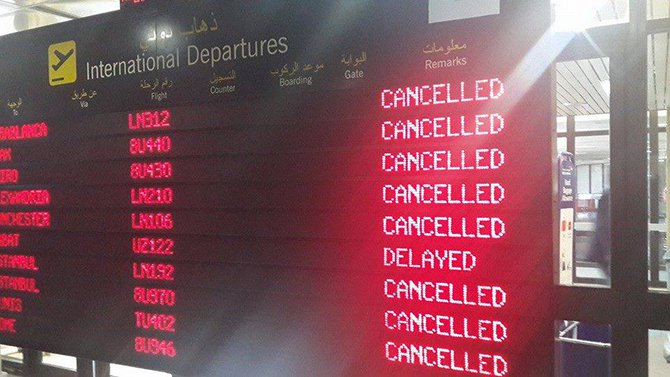 Flights cancelled at Tripoli international Airport. Photo: Facebook