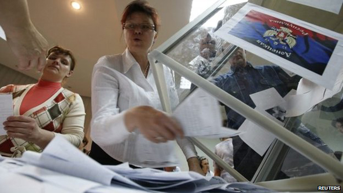 Organisers in Donetsk announced the results just hours after the voting ended
