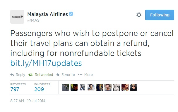Malaysia airlines tweets about the refund