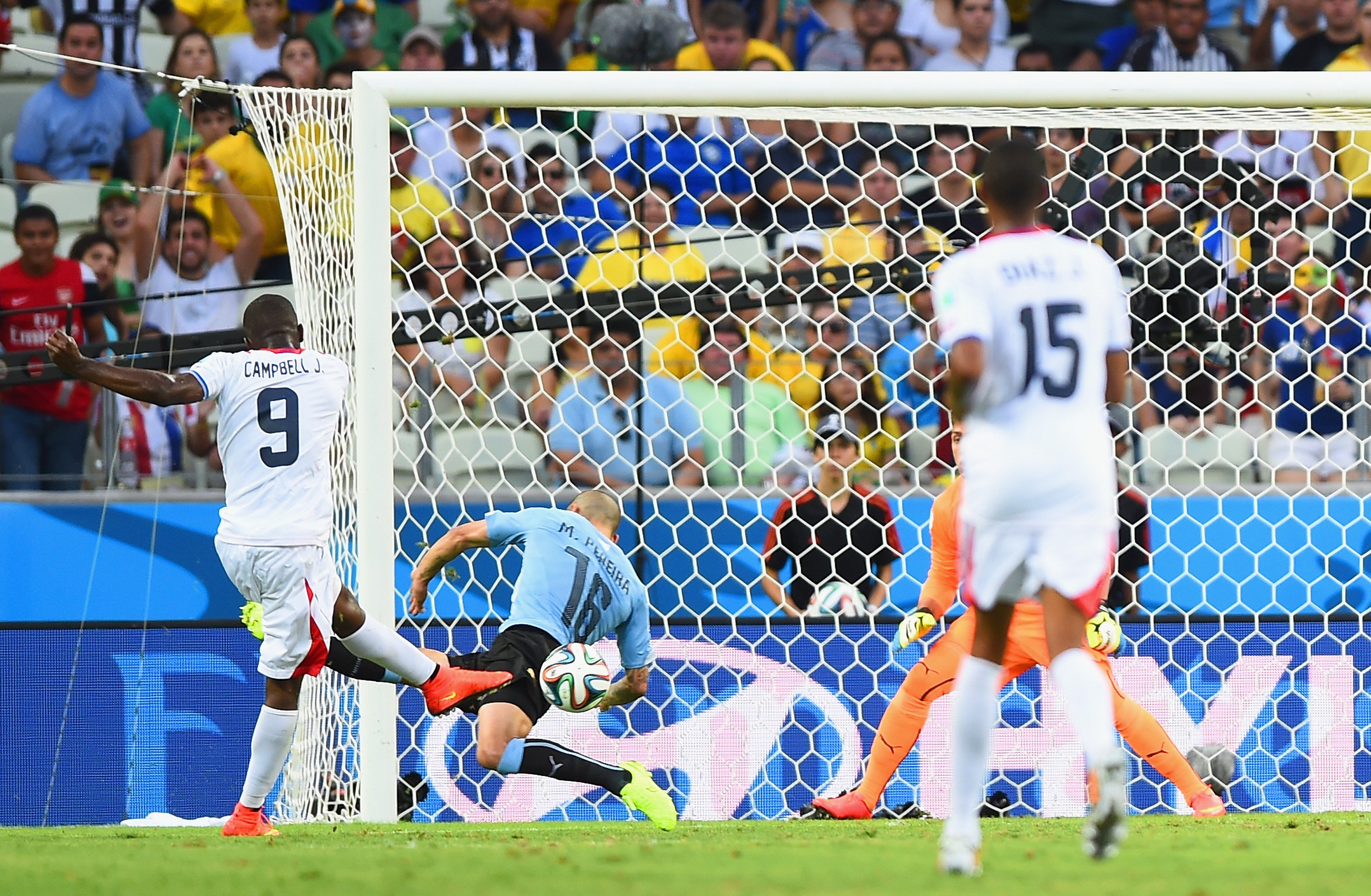 Joel Campbell of Costa Rica shoots and scores his team's first goal during the 2014 FIFA World Cup Brazil Group D match between Uruguay and Costa Rica at Castelao on June 14, 2014 in Fortaleza, Brazil. Photo: Getty Images