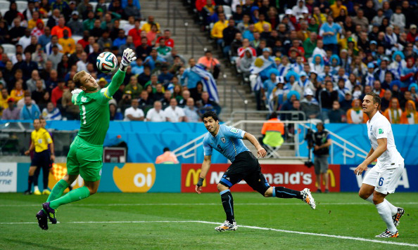 Luis Suarez of Uruguay scores his team's first goal past Joe Hart of England during the 2014 FIFA World Cup Brazil Group D match between Uruguay and England at Arena de Sao Paulo on June 20, 2014 in Sao Paulo, Brazil. Photo: Getty Images