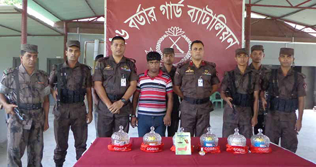 Border Guard Bangladesh (BGB) personnel arrest venom smuggler Milon Kaji (centre) along with cobra snake poison worth Tk 100 in Benapole of Jessore Friday night. Photo: Star