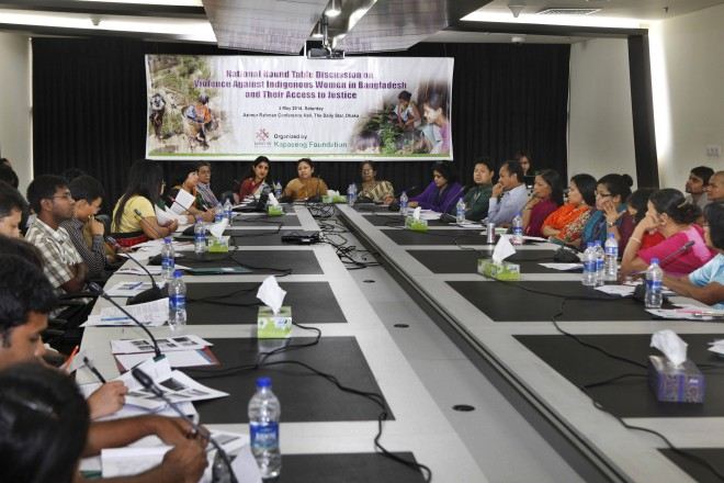Speakers at the National Roundtable Discussion on Violence Against Indigenous Women in Bangladesh and Their Access to Justice organised by rights organisation Kapaeeng Foundation at Azimur Rahman Conference Hall of The Daily Star Centre in the capital yesterday.  Photo: Star