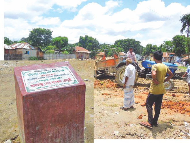 Illegal filling of a water body, popularly known as 'Jorapukur', of Bangladesh Railway at Neamatpur in Saidpur upazila of Nilphamari goes on, ignoring a legal notice served by the authorities concerned, inset, foundation of a boundary wall of a proposed Eidgah laid by the lawmaker on the filled up water body on Monday. Photo: Star