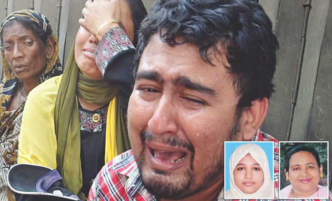 Saif Reza, along with relatives, in tears at Chittagong Medical College Hospital where he took his mother and younger sister, inset, who were stabbed to death by unknown men at their house in the port city yesterday morning. Photo: Star