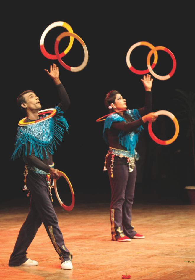Artistes perform at the programme.  Photo: Ridwan Adid Rupon