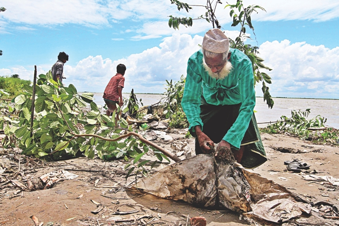 This old man has lost almost everything in erosion. His house has been devoured by the Padma in Ranipur village in Dohar, Dhaka. A young jackfruit tree has somehow survived. He uprooted the tree to take it with him while moving to the next village. Photo: Anisur Rahman