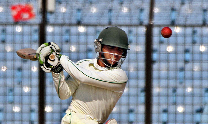 Mominul batting his way to a draw in the last day of 2nd test match against Sri Lanka. Photo: Anurup Kanti Das