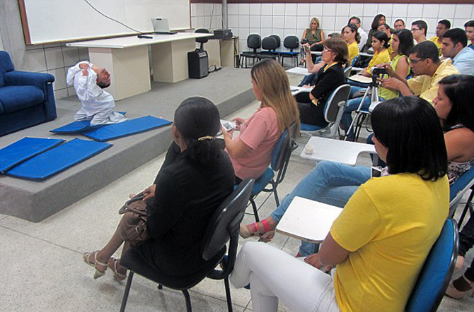 Motivational: His independence saw him succeeding at school and qualifying as an accountant from the State University of Feira de Santana where he regularly returns to give motivational talks (pictured). Photo taken from Barcroft media