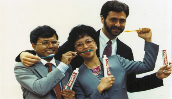 Dr. Nabi with fellow scientists celebrating the launch of Colgate Total Toothpaste